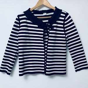 J Crew black and white striped cardigan sweater